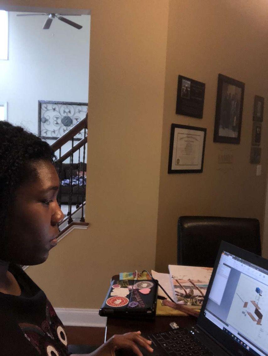Sophmore Raquel Bowman working hard on her school work.