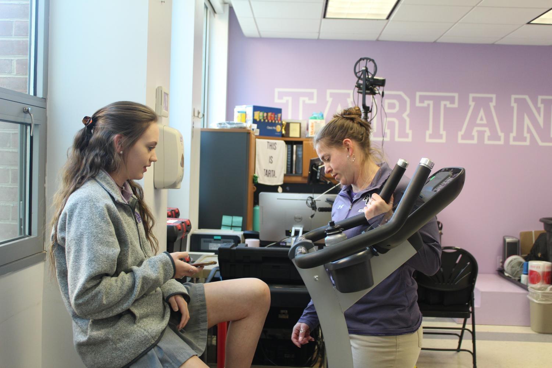 Junior Kristen Puglisi discusses her recent injury with Hagler.