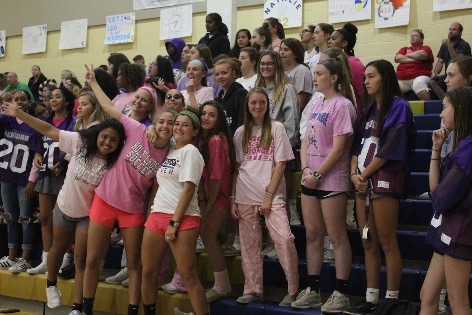 LOTA fans watching varsity volleyball vs. Good Counsel.