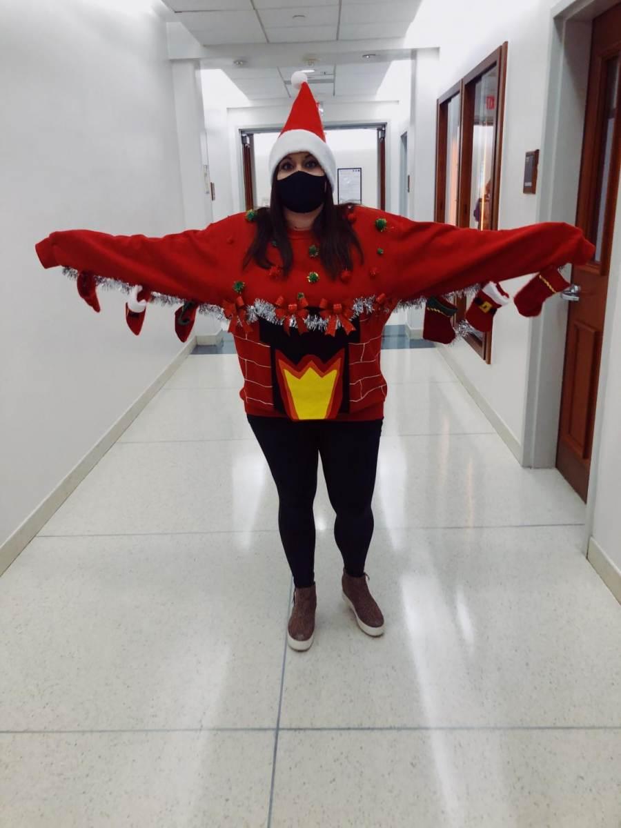Biology teacher Ashley Gardner is showing off her terrific Christmas sweater