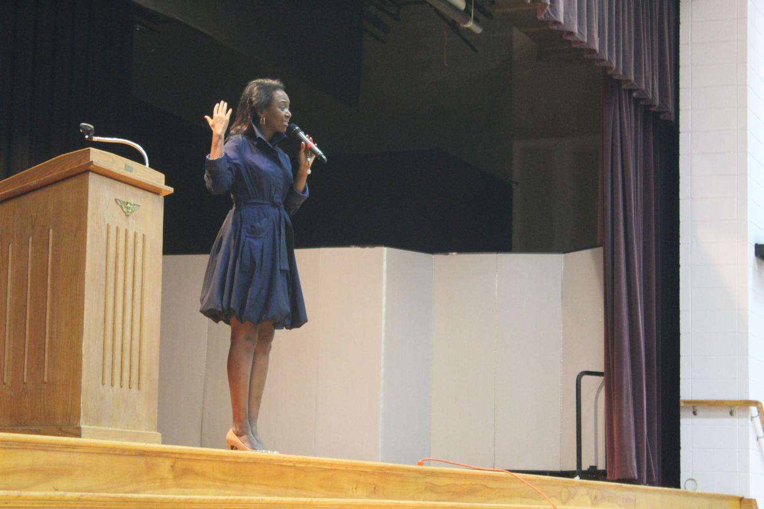 Immaculee spoke to the school about her faith.