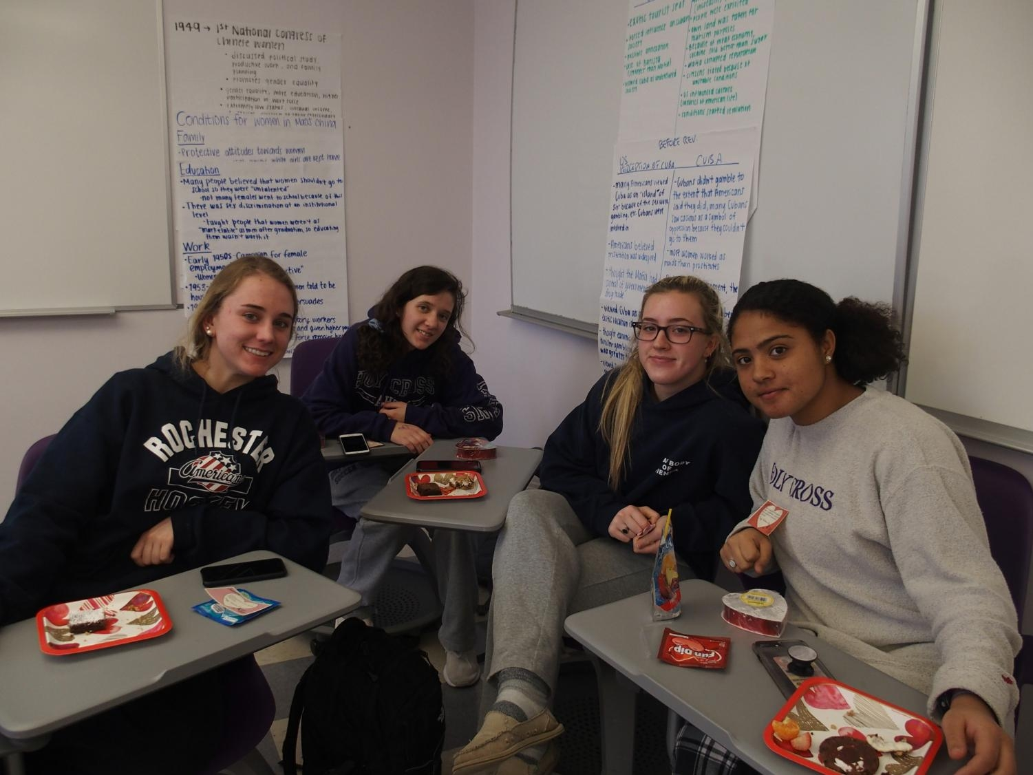 Juniors celebrate Valentine's Day in their Advisory with sweets.
