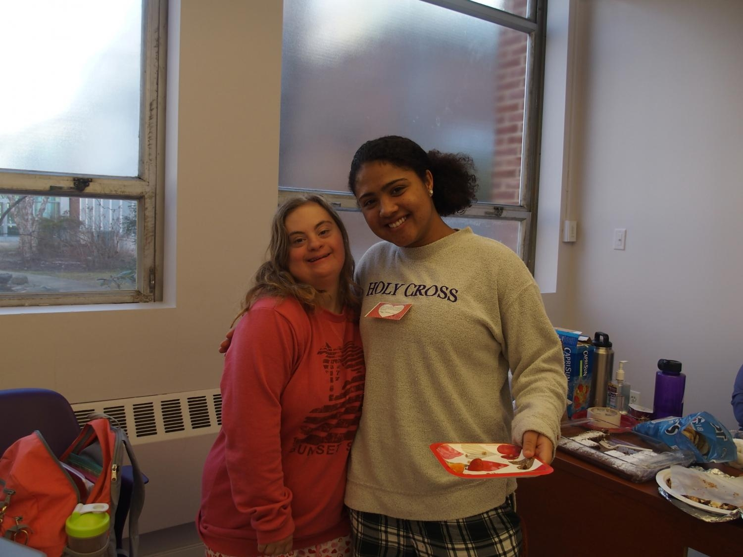 Juniors Mckhaye O'Boyle and Rosie Pollak in their Valentine's Day party.