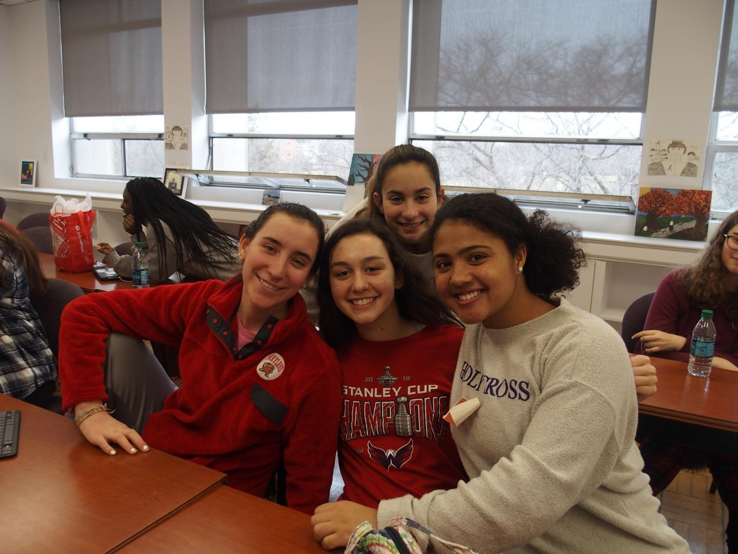 Juniors in AP Language and Composition pose together in their pink and red for Valentine's Day.