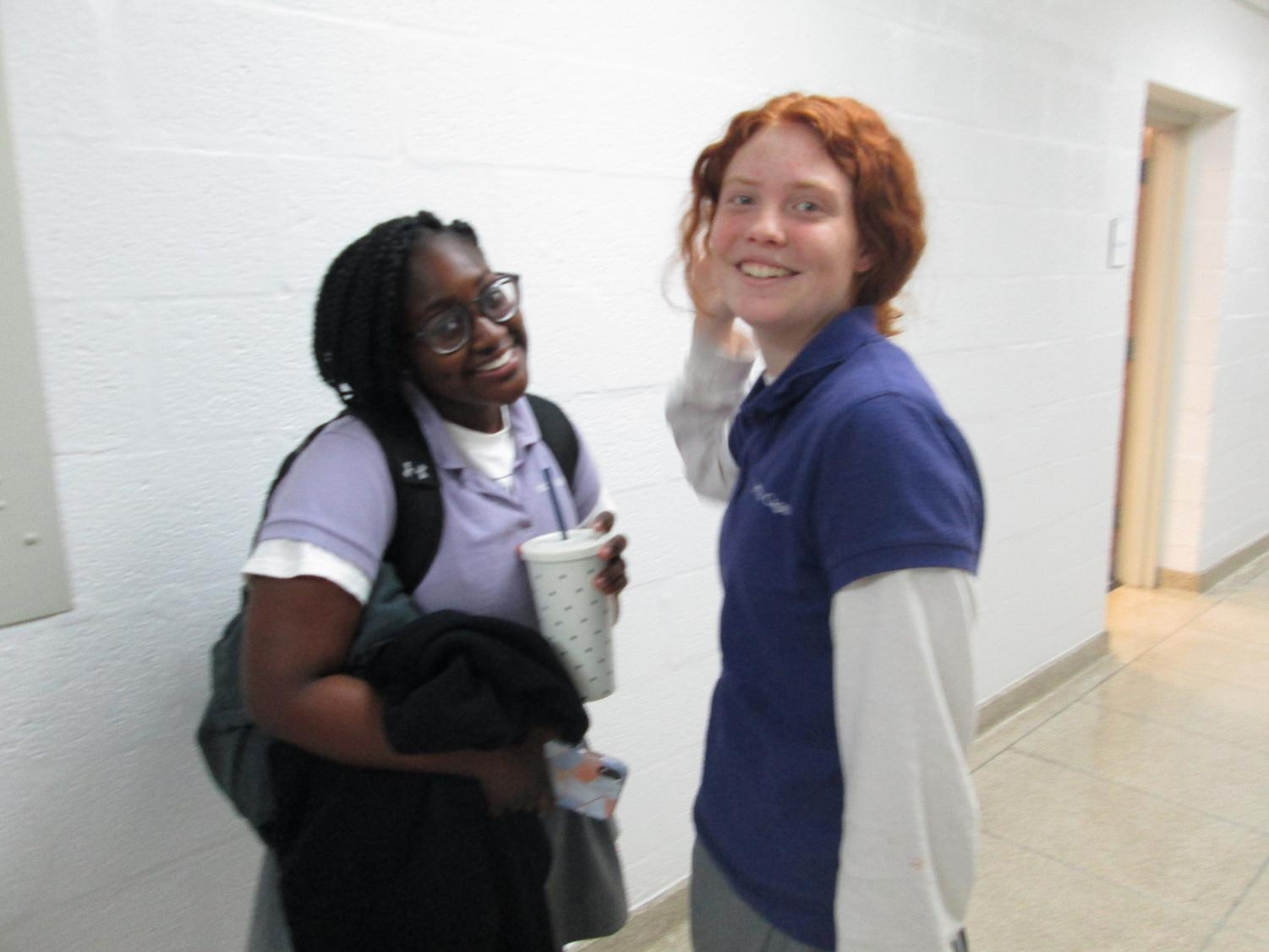 Sophomores Grace Martin and Ophelia Hyde having fun in the AHC halls