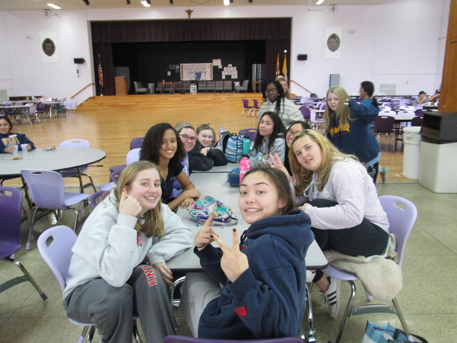 Sophomores at lunch during the Retreat