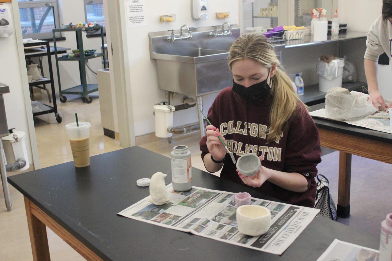 Creativity in ceramics class.