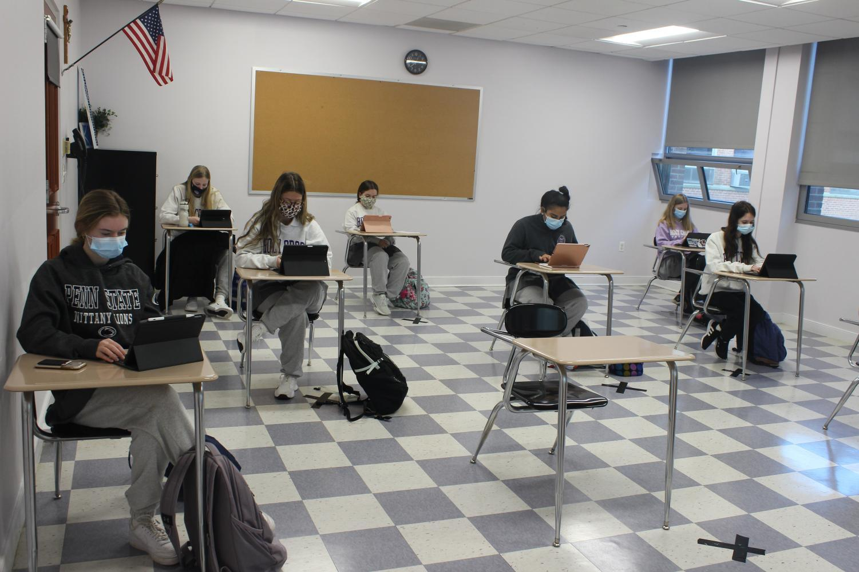 Socially-distanced class.
