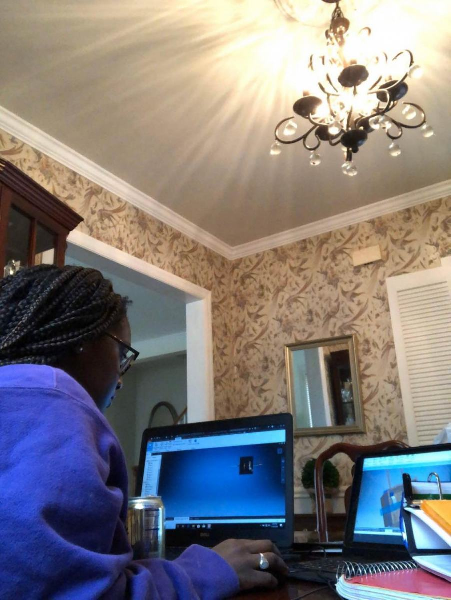 Junior Ophelia Hyde focusing on her PLTW class from home.