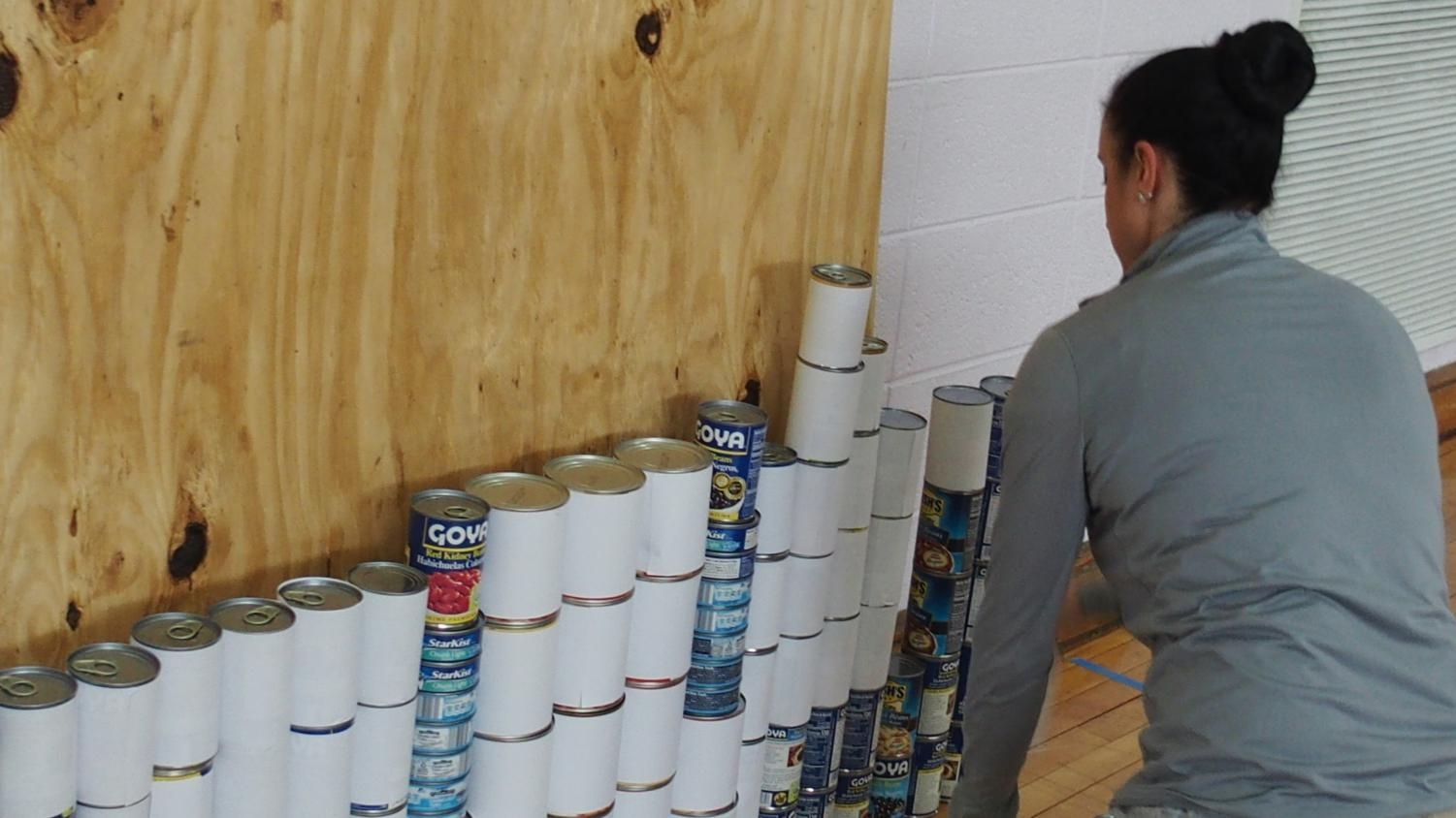 Ms. Rapoport gets the teachers\' canstruction started.