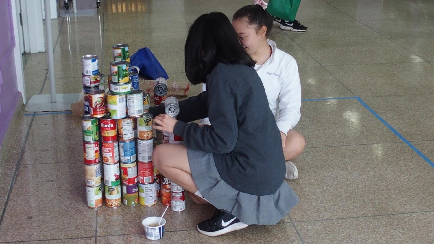Building out of cans to help those in need.