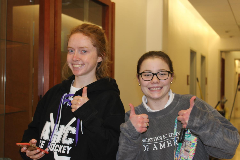 Seniors Meghan Maloney and Emily Diamond heading to the winter sports awards.