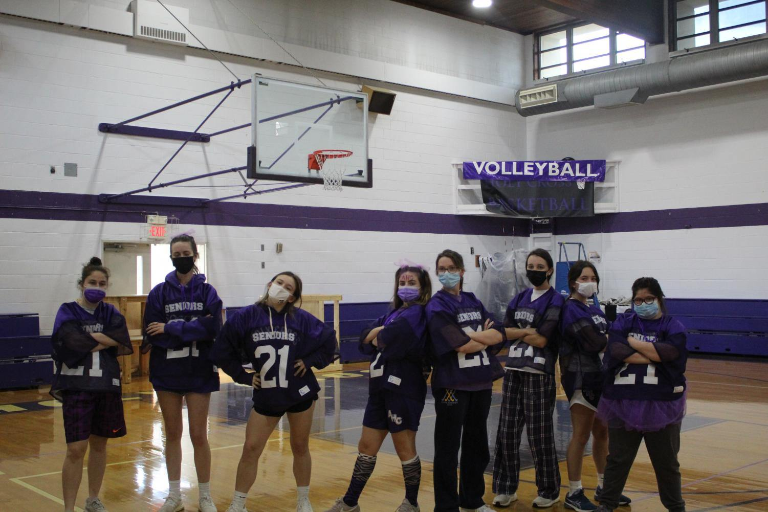 One of the senior teams for the dodgeball powderpuff game against the juniors.