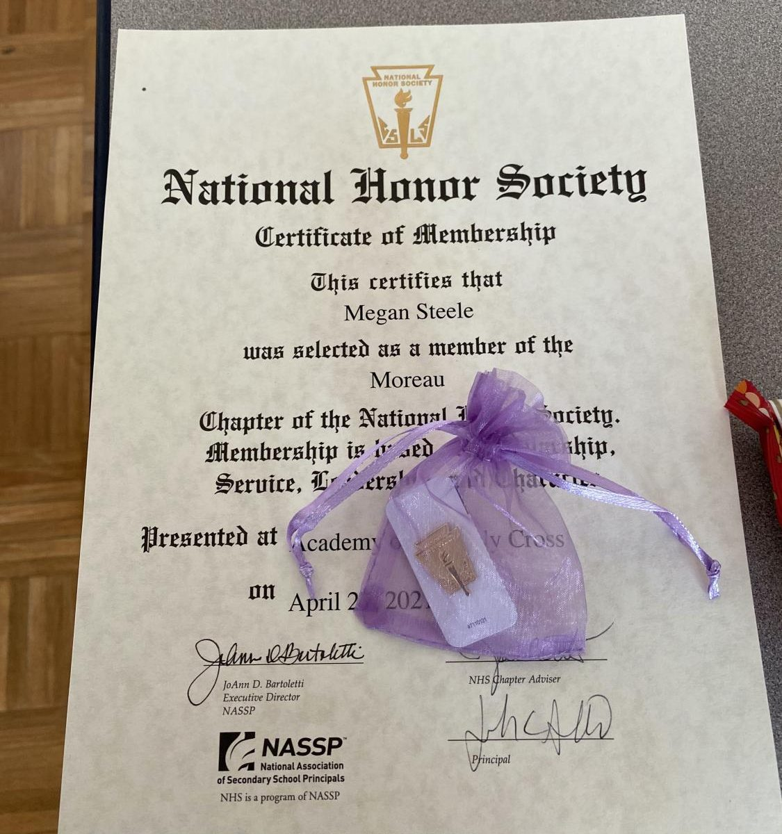 Students were inducted into the Moreau chapter of the National Honor Society on April 27.