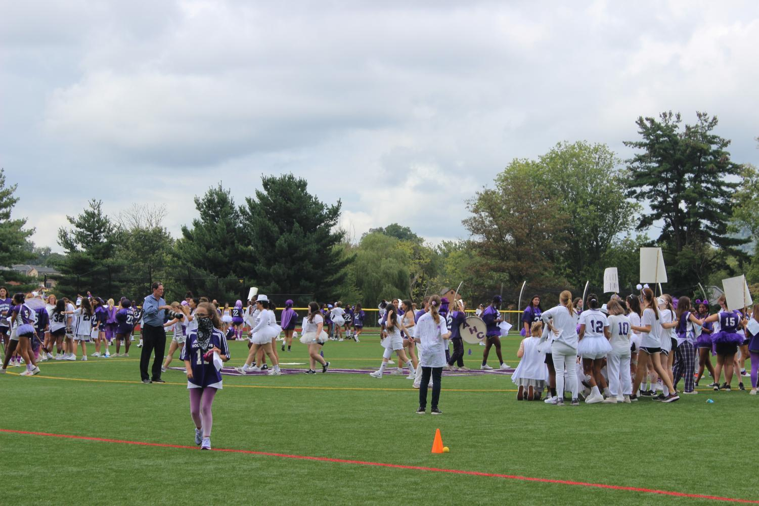 Tartans getting ready to start their activities for Holy Cross day.