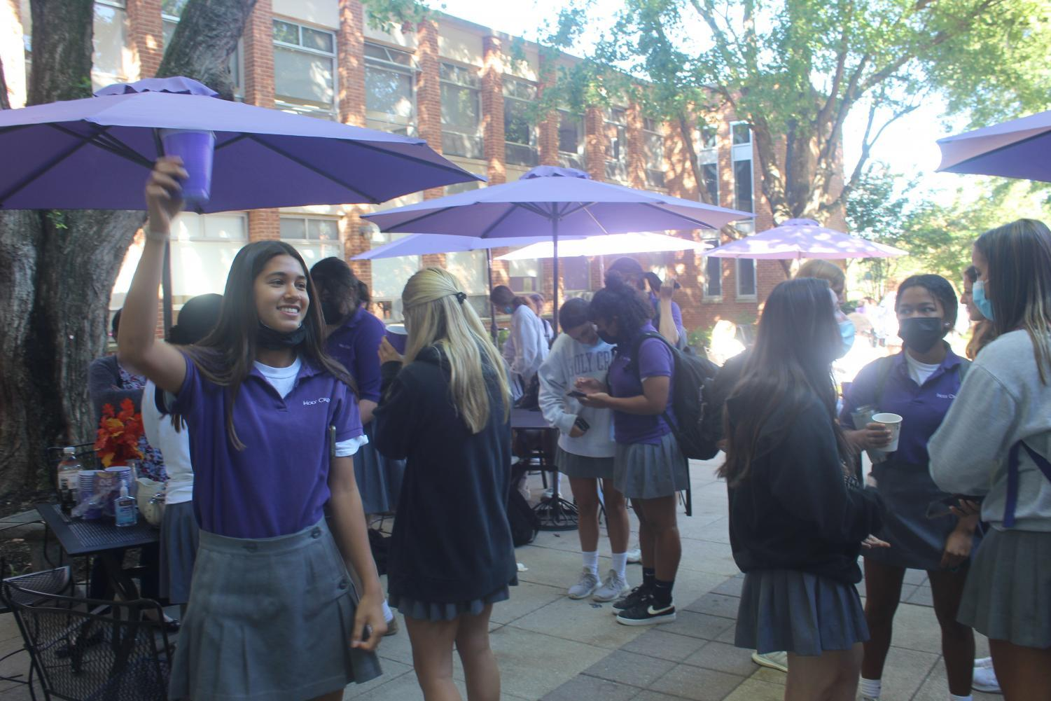 Students hanging out in the junior courtyard