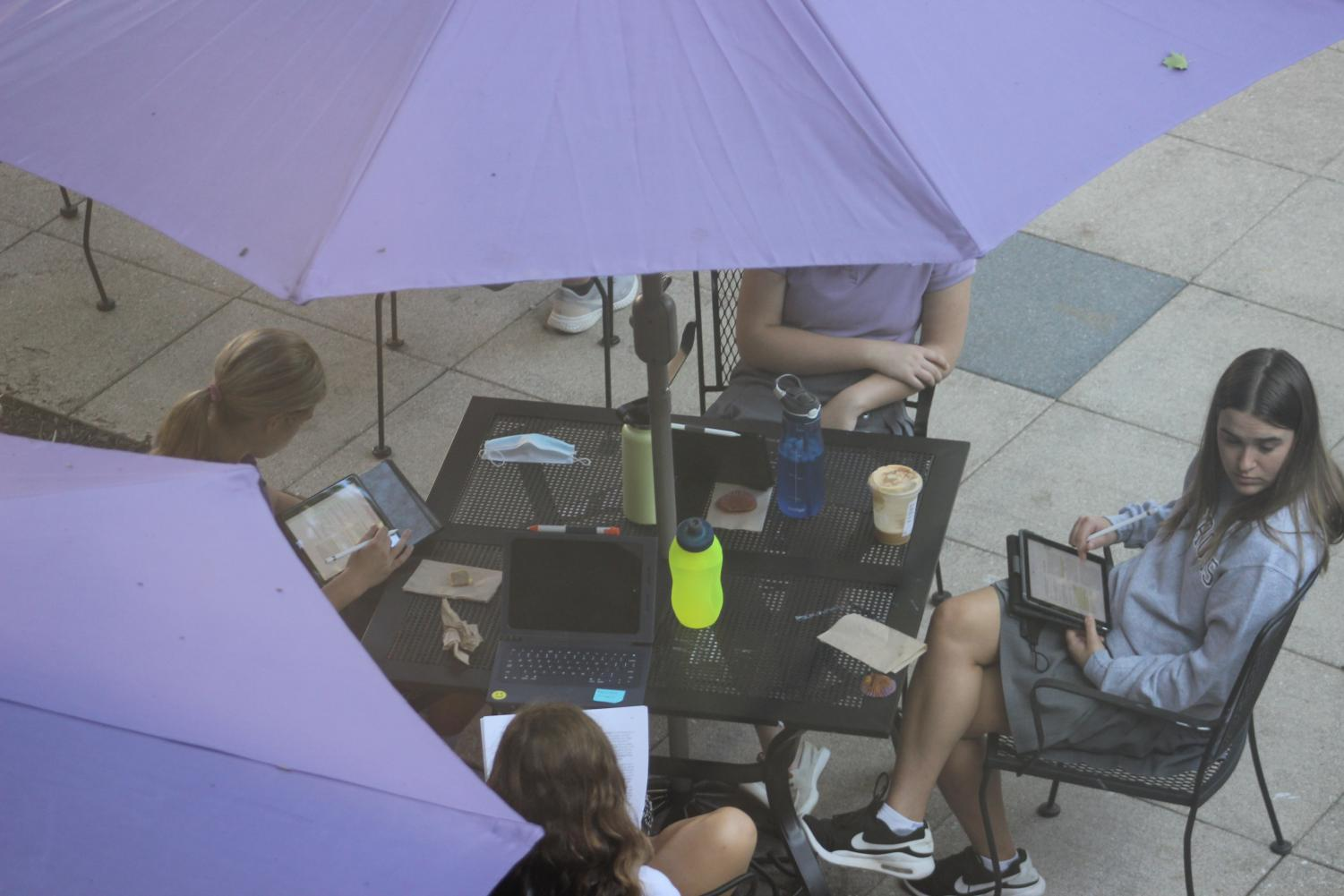 Students working in the junior courtyard