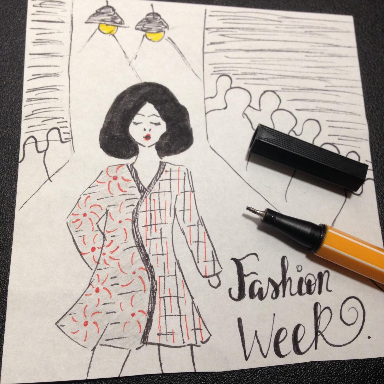 Drawing representation of fashion week illustrated by Riana Tadonki