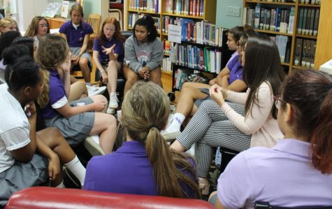Mrs. Gobbi talks with transfer students.