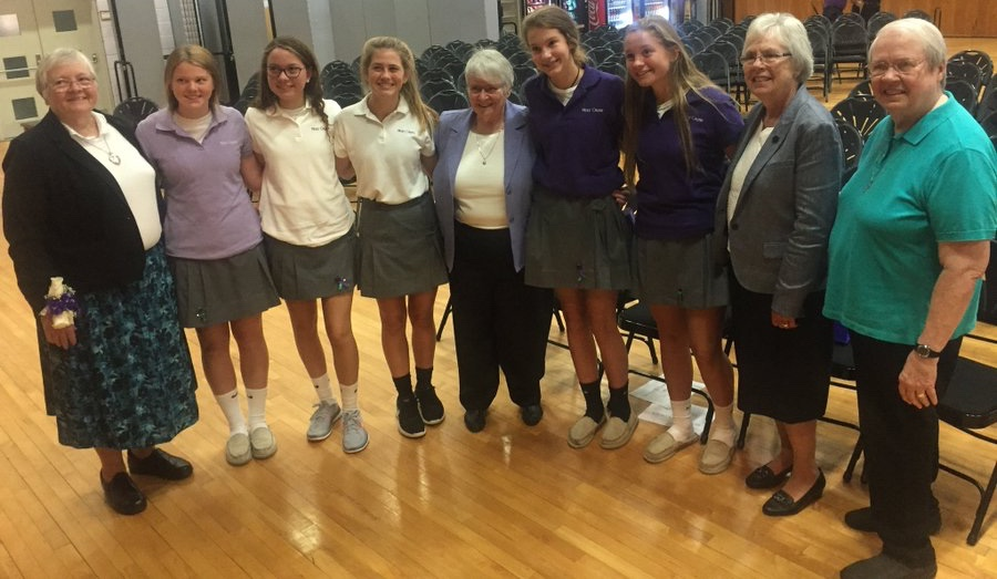 Students with the Sisters of the Holy Cross