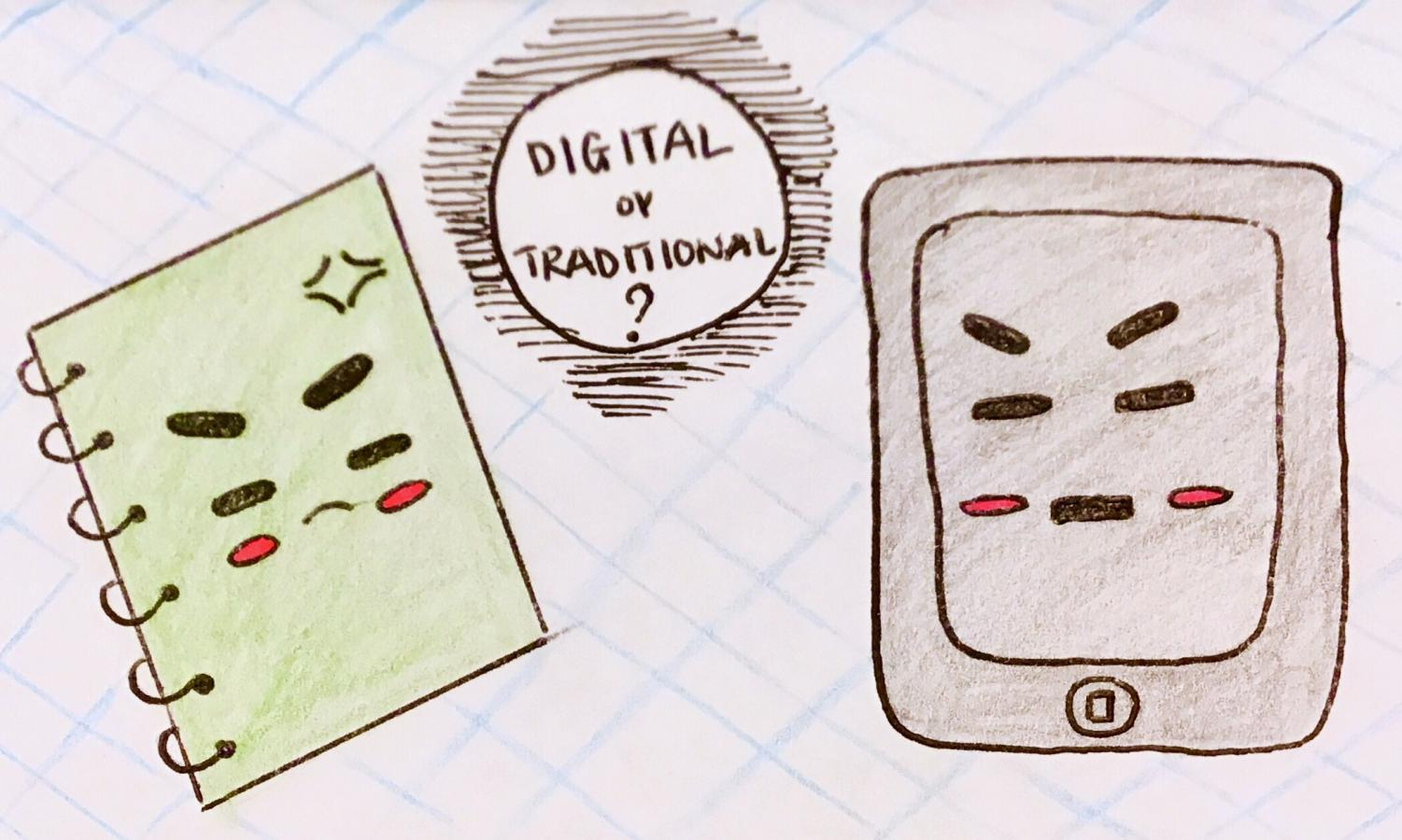 An angry notebook beside an angry tablet (illustrated by Riana Tadonki)