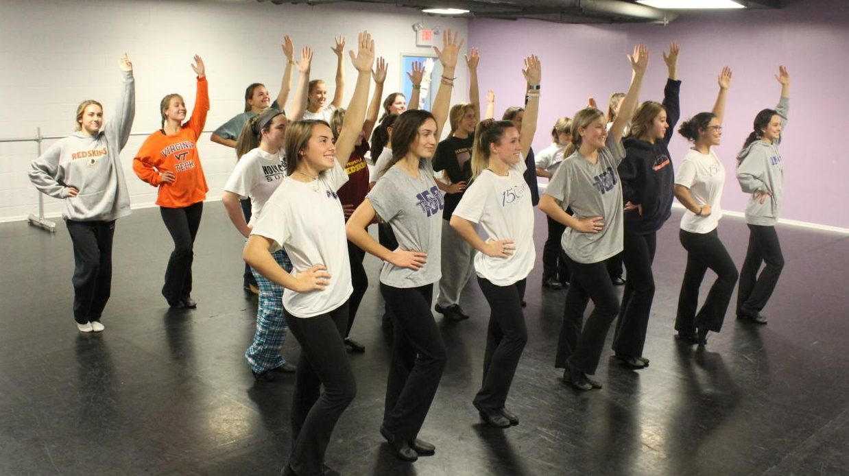 A Holy Cross dance class preparing for the winter show.