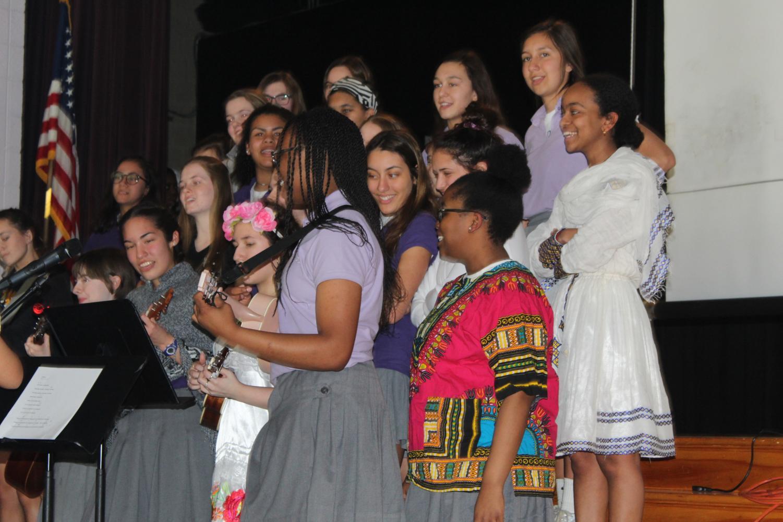 Singing and ukelele performance at International Day Assembly