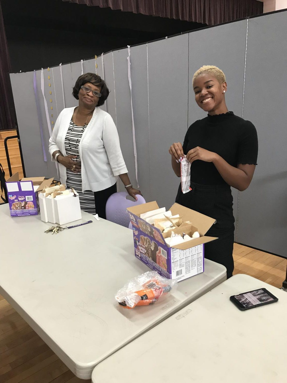 Ms. Brocke, and Ms. Brown at Final Onyx Club Meeting