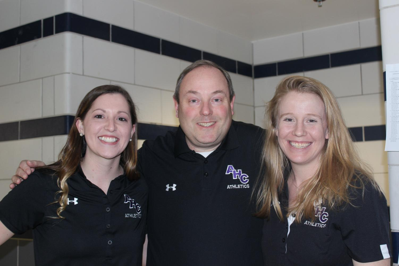 Swim coaches Megan Rozanski, Kit Mathews and Allison Dean.
