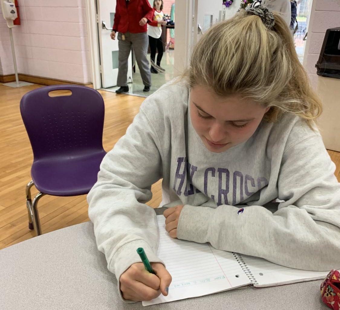 Sophomore Brennan Flynn taking AP Human Geography notes.