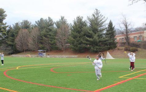 Lacrosse players participate in preseason, after school workouts and stick skills.