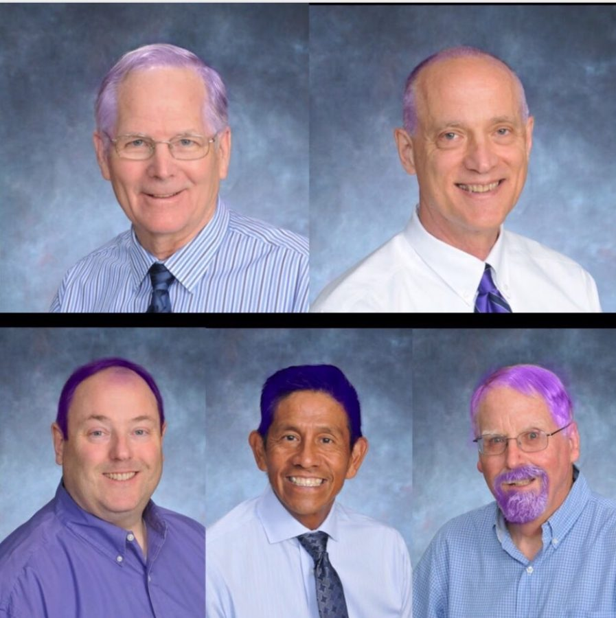 Some of the AHC staff members who agreed to dye their hair purple as a prize if enough students donate hair.