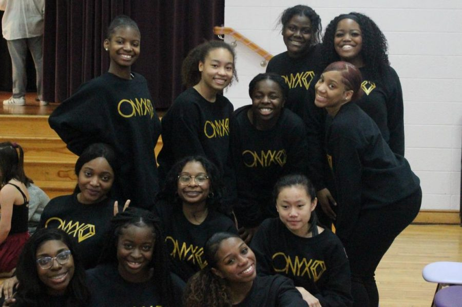 Onyx club members before their step performance at the Talent Show.