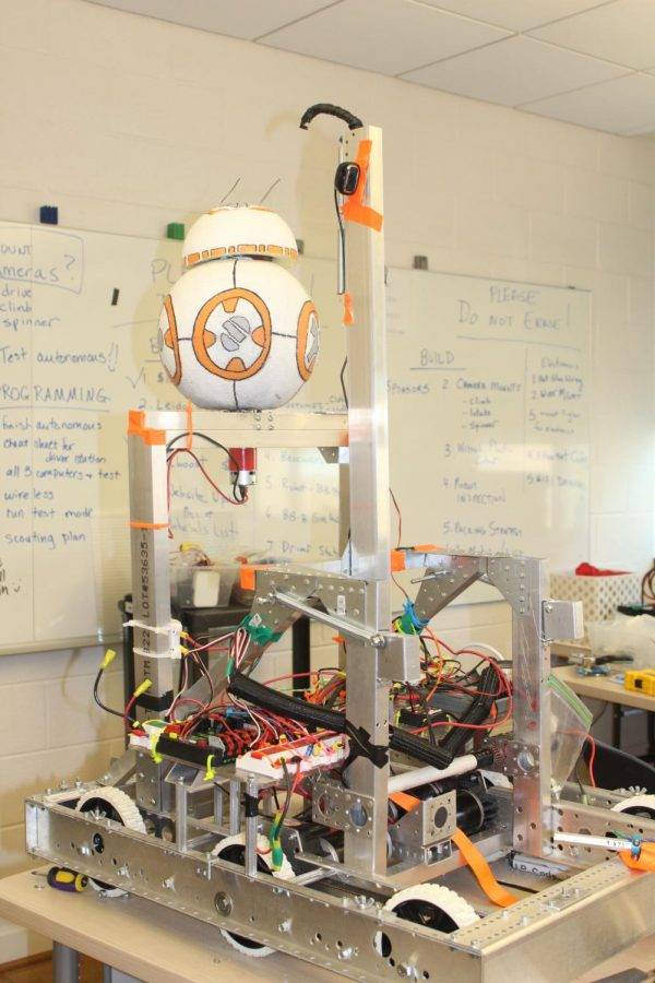 Their completed robot decked out in Star Wars decoration to match the theme for the competition.