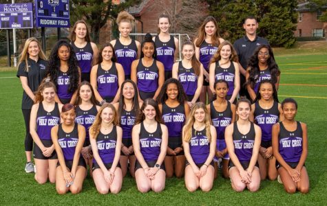 Holy Cross's outdoor track team and their coaches.