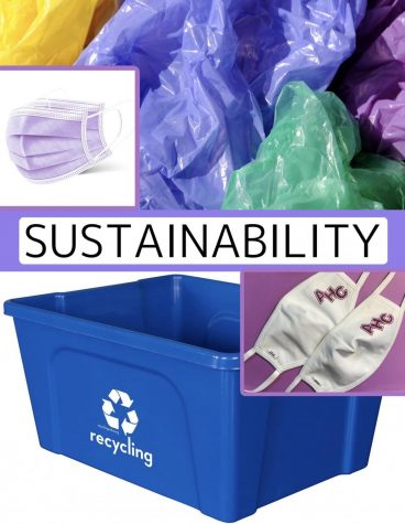 Examples of waste produced through the pandemic, and efforts by The Academy to increase sustainability.