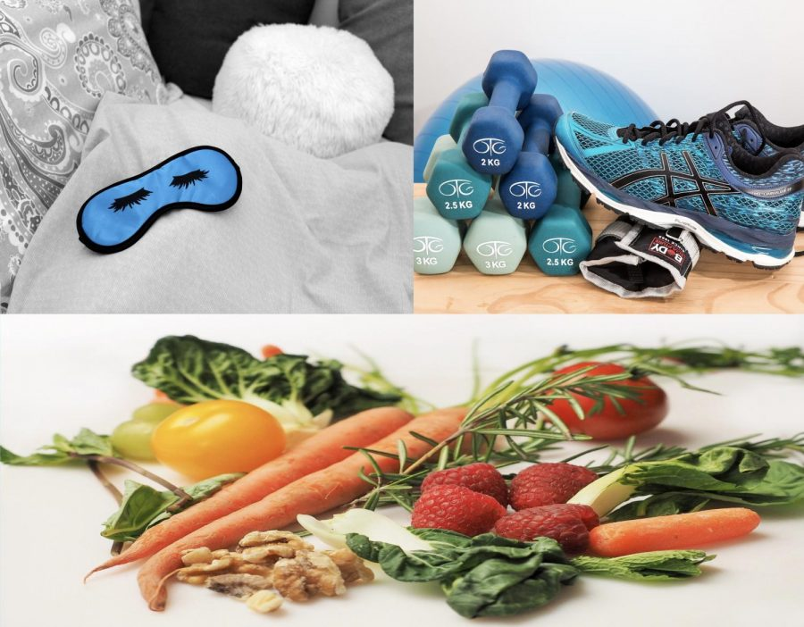 Images+of+a+sleeping+mask+with+pillows%2C+weights+with+tennis+shoes+and+a+yoga+ball%2C+and+fruits%2C+vegetables%2C+and+nuts.