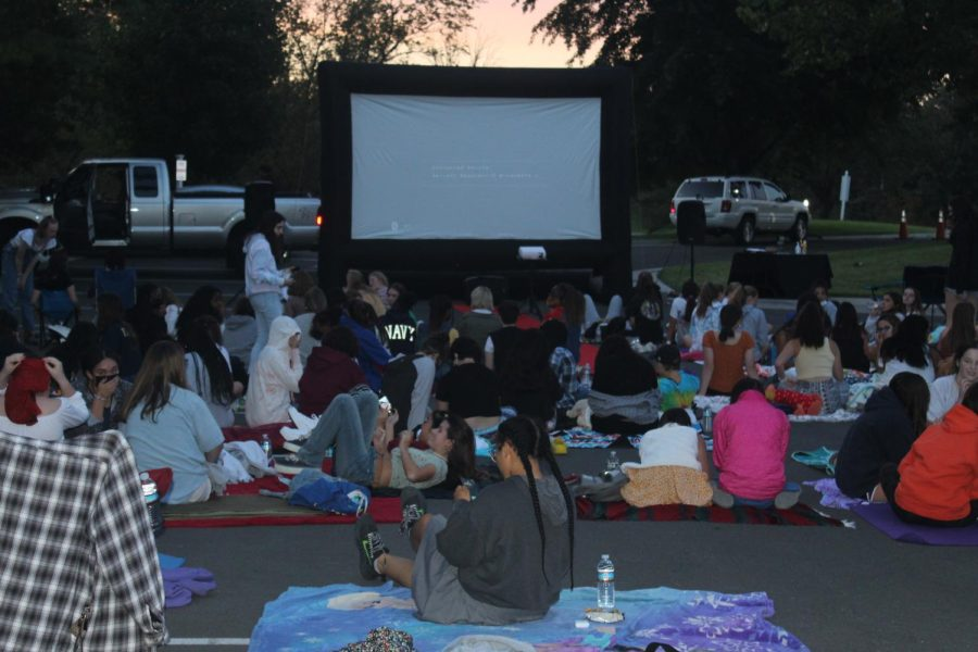 LOTAs sitting on their comfy blankets getting ready for the movie to start
